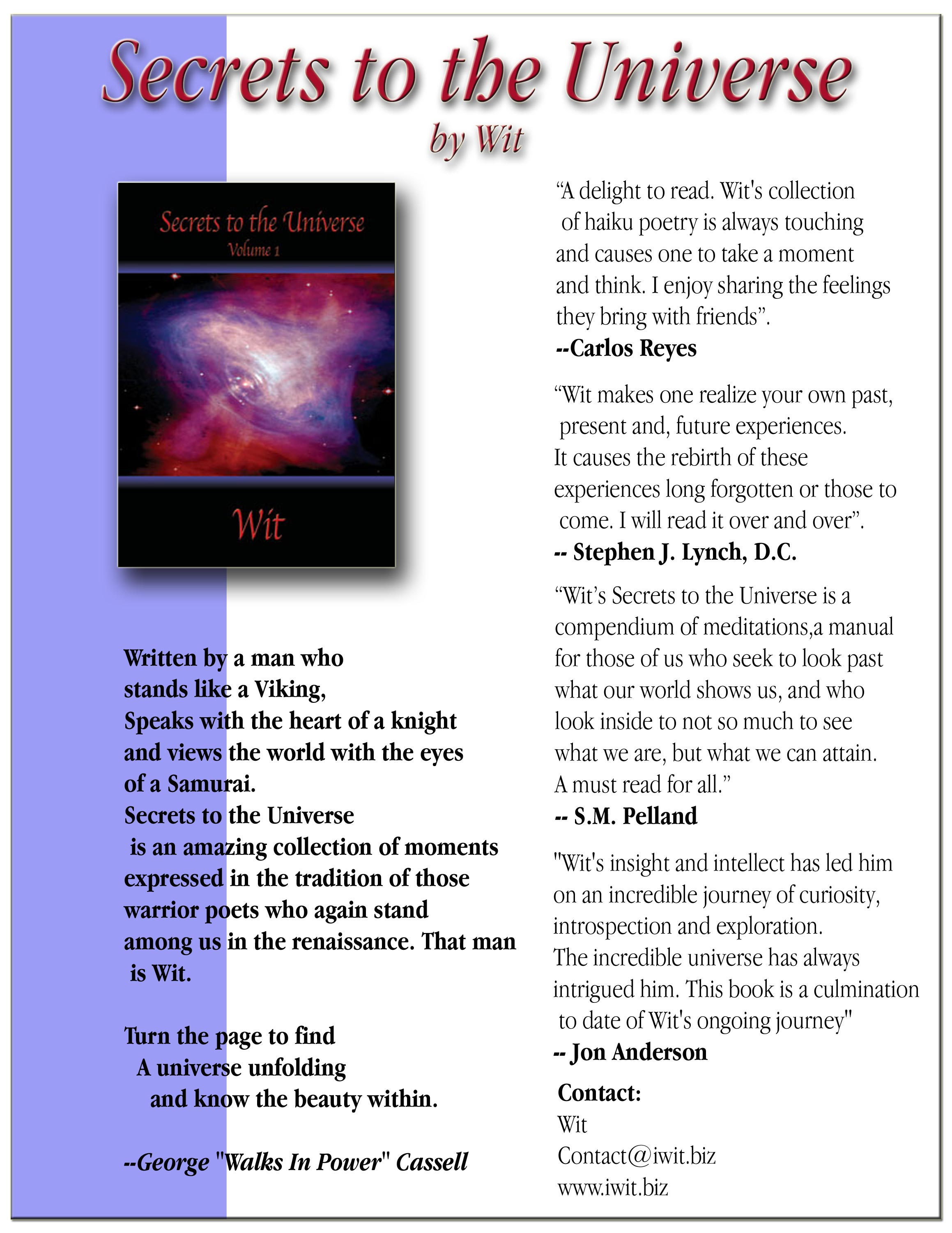 Secrets to the Universe one sheet