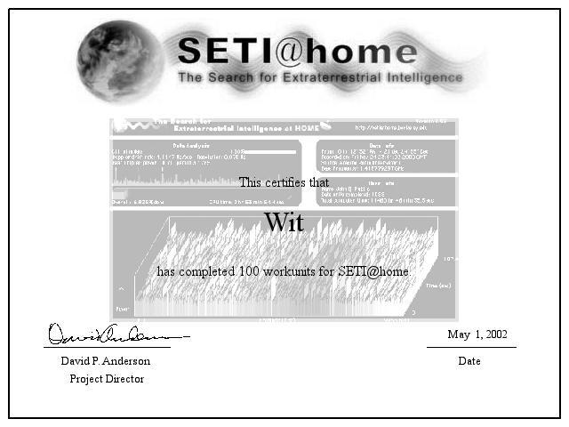 Wit's SETI Certificate of Computation 100 workunits