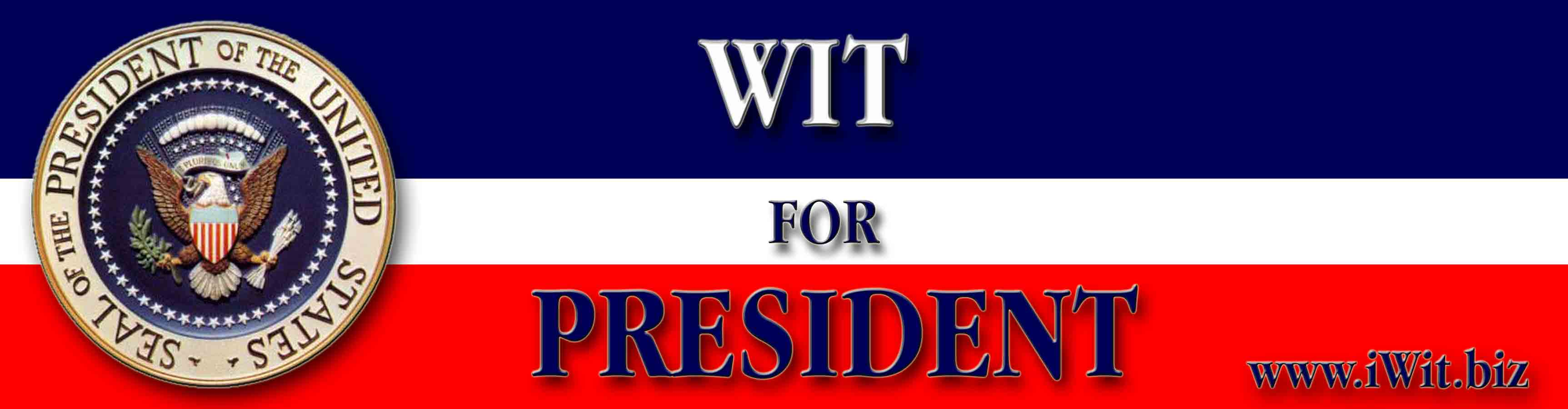 The President by Wit  Bumpersticker 1